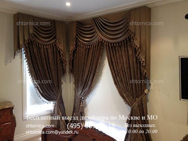 Дорогие рулонные шторы с электроприводом классическими занавесками и ламбрекеном на заказ