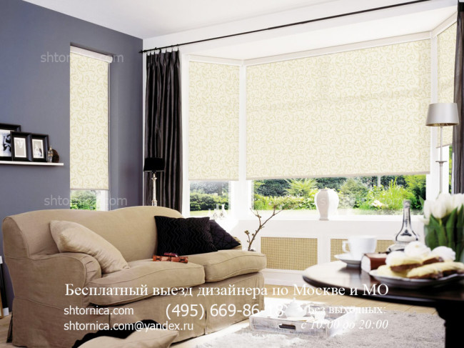 Рулонные шторы для гостиной на заказ