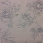 Тюлевая матовая ткань из льна с размытым  цветочным орнаментом