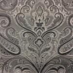 Портьерная жаккардовая ткань с рисунком «дамаск» серебристая