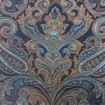 Портьерная жаккардовая ткань с рисунком «дамаск» бирюза